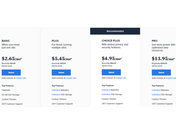 bluehost_pricings